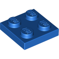 [New] Plate 2 x 2, Blue. /Lego. Parts. 3022